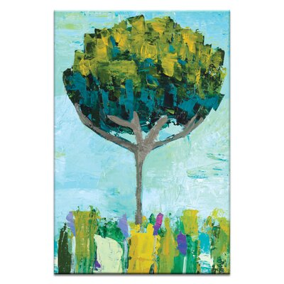 Artist Lane Spring Tree by Anna Blatman Art Print Wrapped on Canvas in Green/Yellow