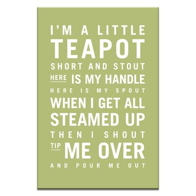 Artist Lane I'm a Little Teapot by Nursery Canvas Art in Green