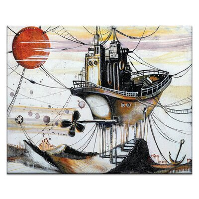 Artist Lane Once_in_an_Orange_Moon by Olena Kosenko Graphic Art Wrapped on Canvas