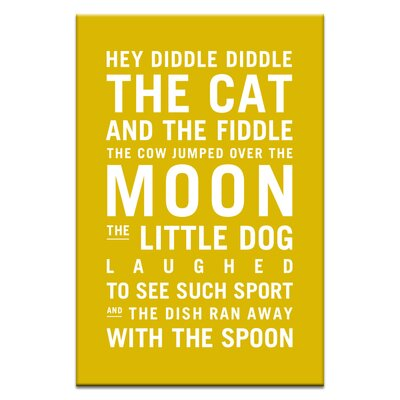 Artist Lane Hey Diddle Diddle by Nursery Canvas Art in Yellow