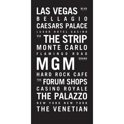 Artist Lane 'Las Vegas' by Tram Scrolls Typography Wrapped on Canvas