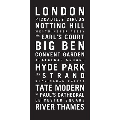 Artist Lane 'London 1' by Tram Scrolls Typography on Wrapped Canvas