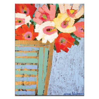 Artist Lane Asters in Gold Pot by Anna Blatman Art Print on Canvas