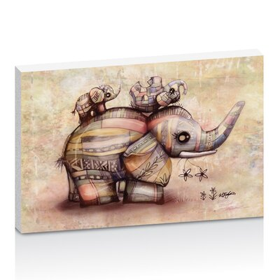 Artist Lane Upside Down Elephants Creamy Pink by Karin Taylor Art Print on Canvas
