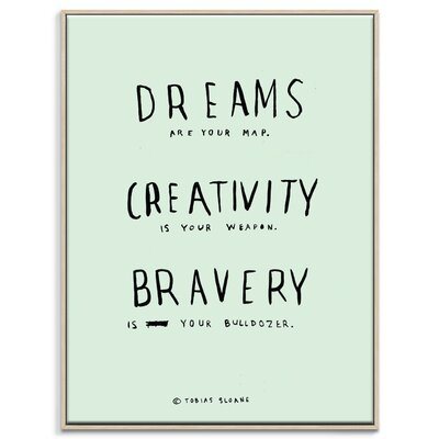 Artist Lane 'Dreams Creativity Bravery' by Steve Leadbeater Framed Typography on Wrapped Canvas