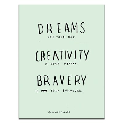 Artist Lane 'Dreams Creativity Bravery' by Steve Leadbeater Typography on Wrapped Canvas