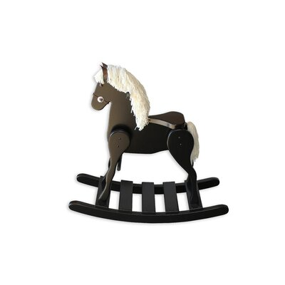 Amish Medium Deluxe Crafted Rocking Horse with Mane Mane Color: White, Color: Maple Black