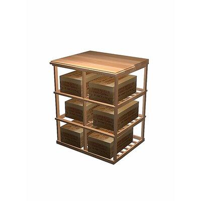 Designer Series 6 Case Double Deep 60 Bottle Floor Wine Rack Wood Type: Rustic Pine, Finish: Midnight Black