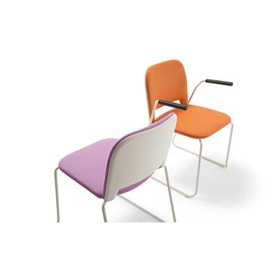 Lips Stacking Chair Outside Seat Finish: Black, Inside Seat Upholstery: Momentum Fuse Fabric Azurean, Frame Finish: Chrome