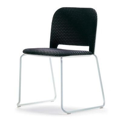 Lips Armless Stacking Chair Outside Seat Finish: Black, Inside Seat Upholstery: Momentum Beeline Vinyl Eclipse, Frame Finish: Chrome