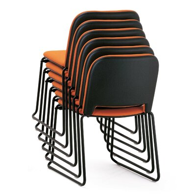 Lips Armless Stacking Chair Outside Seat Finish: Off White, Inside Seat Upholstery: Momentum Fuse Fabric Azurean, Frame Finish: Chrome