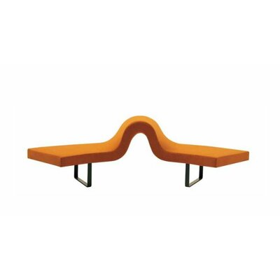 Highway Bench Leg Color: Satin Chrome, Upholstery: Momentum Fuse Fabric Walnut