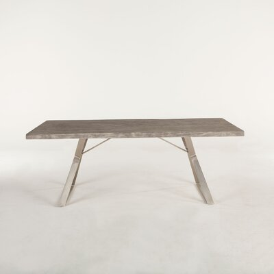 Nottingham Dining Table Base Color: Stainless Steel, Top Color: Weathered Gray
