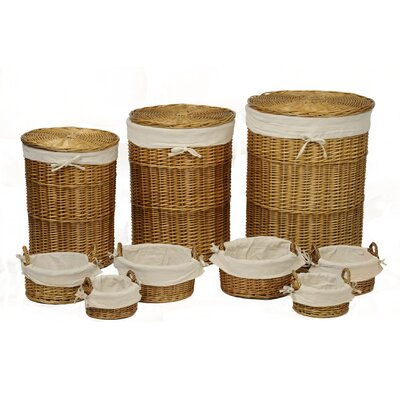 Alpen Home 9 Piece Round Storage Basket Set with Calico Lining