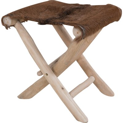Alpen Home Ordway Folding Stool with Goathide Cushion