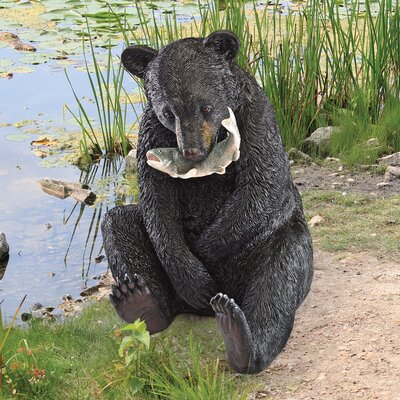 Alpen Home Parkerton Sitting Bear with Fish in Mouth Garden Statue