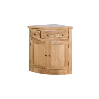 Alpen Home Millais Petite Solid Oak Corner Display Cabinet Base