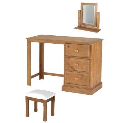 Prestington Heritage Hendon 3 Drawer Dressing Table Set with Mirror