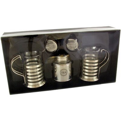 ChâteauChic Energicus 3 Piece Stainless Steel / Glass Tea Set
