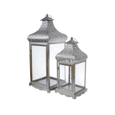 Château Chic 2 Piece Energicus Lantern Set in Silver