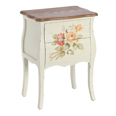 Château Chic Il Amore 2 Drawer Aged White Bedside Table