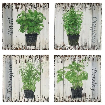 Château Chic Herbs 4-Piece Painting Print Set