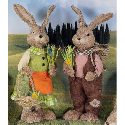 Château Chic 2 Piece Rabbit Pair Easter Messengers Figurine Set