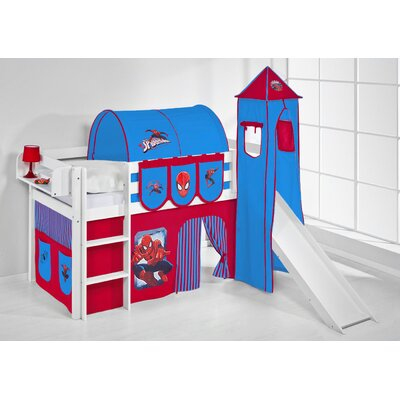 Wrigglebox Jelle Spider-Man High Sleeper Bunk Bed with Curtain, Tower and Slide