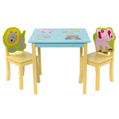 Wrigglebox Forest Friends Children's 3 Piece Square Table and Chair Set