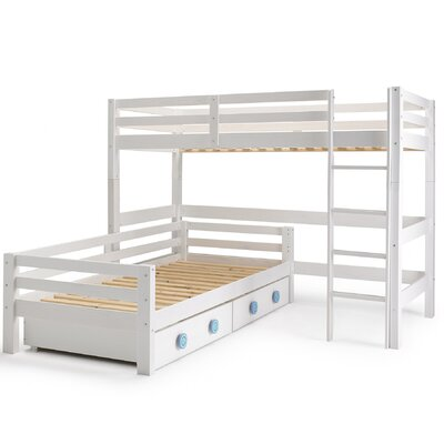 Wrigglebox Papallona Single L-Shaped Bunk Bed with Storage