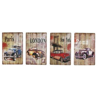 Fjørde & Co Vintage Cars 4-Piece Wall Art