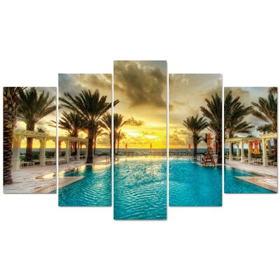 Fjørde & Co Palm and Pool 5-Piece Wall Art Set