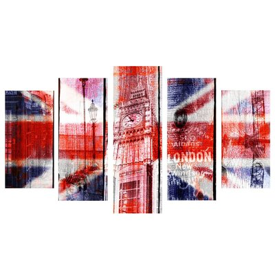 Fjørde & Co UK Flag Mix 5-Piece Wall Art