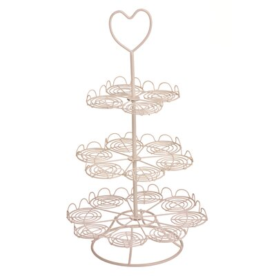 All Home 3 Tier Cream Wire Cupcake Stand