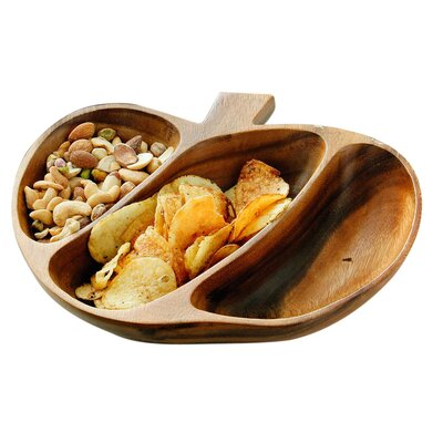 All Home Acacia 28cm Wood 3 Section Serving Dish