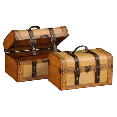 All Home Leather Effect Natural Storage Cases 2 Piece Set