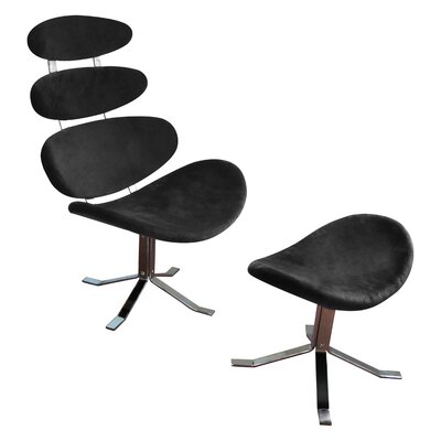 All Home Microfiber Revolving Chair and Footstool