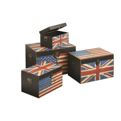 All Home Anglo-American Storage Trunks 4 Piece Set