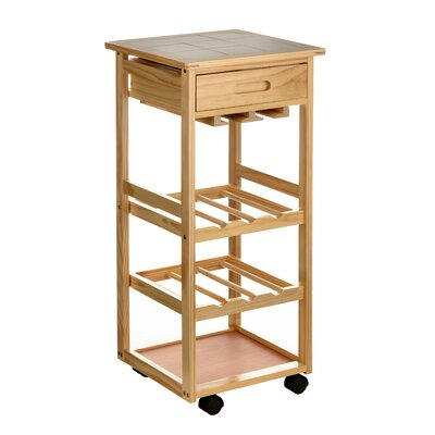 All Home Kitchen Cart with Ceramic Tile Top