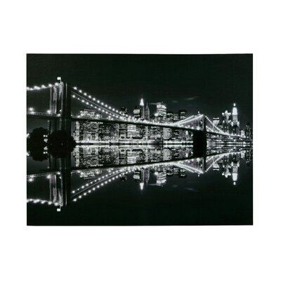 All Home Brooklyn Bridge at Night Photographic Print on Canvas