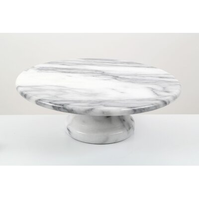 All Home 25cm Marble Cake Stand in White