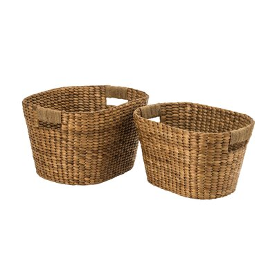 All Home 2 Piece Water Hyacinth Storage Basket Set
