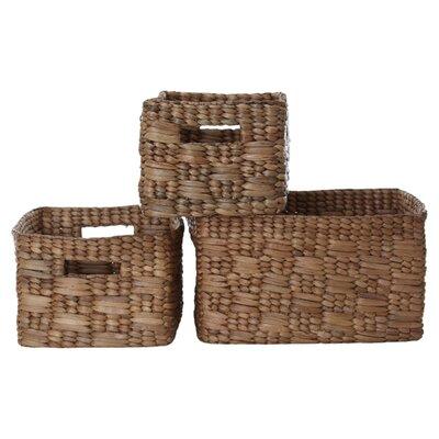 All Home 3 Piece Water Hyacinth Storage Basket Set