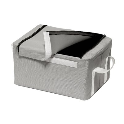 All Home Folding Storage Box with Handles in Grey/White