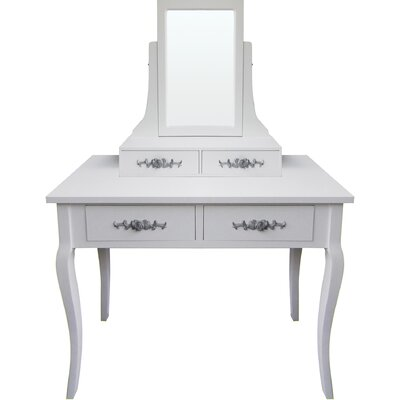 All Home Gifu 4 Drawer Dressing Table with Mirror