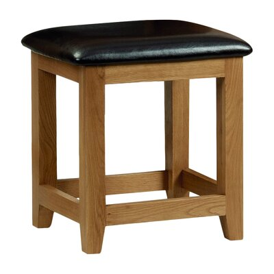 All Home Wiltshire Oak Faux Leather Dressing Table Stool