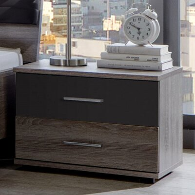 All Home Kos 2 Drawer Bedside Table