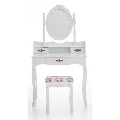 All Home Roseteste Vanity Table Set with Mirror