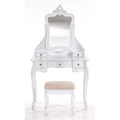All Home Kabos Vanity Table Set with Mirror
