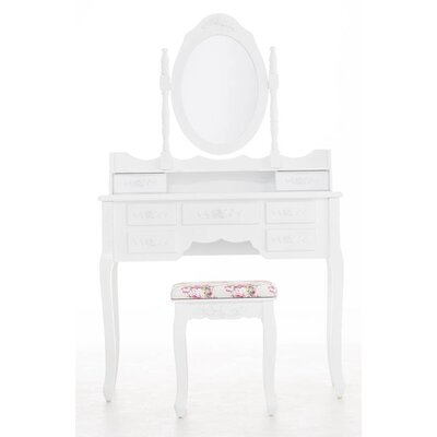 All Home Hercules Vanity Table Set with Mirror